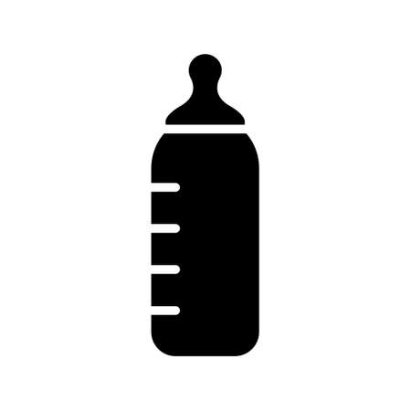 Cutout silhouette Baby bottle with pacifier and scale. Outline icon for milk, water and mixture baby feeding. Black simple illustration. Flat isolated vector image on white background