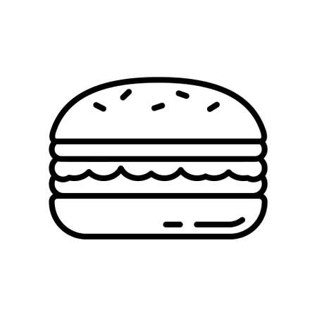 Burger. Thick line art logo of big high sandwich. Black illustration of layered hamburger with lettuce leaf. Contour isolated vector on white background. Icon for restaurant, cafe menu, food packaging
