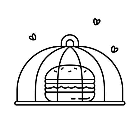 Burger covered with transparent cap. Food safety net with flying flies. Thin linear icon of picnic or kitchen gadget. Black round mosquito top. Contour isolated vector illustration on white background