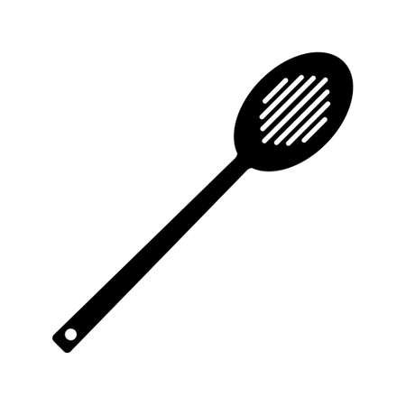 Silhouette mesh strainer icon. Outline logo of steel colander. Black simple illustration of kitchen utensils and cooking. Flat isolated vector image on white background. Holey spoon with long handle