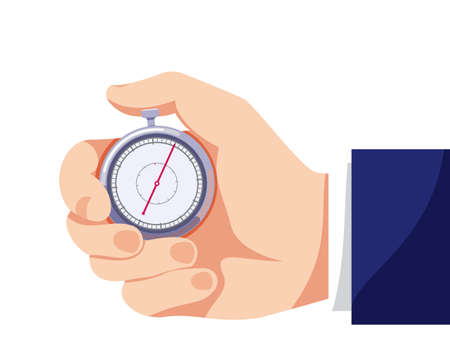 Businessman hand with stopwatch. Illustration for time, business, speed of work and diligence. Color flat icon, isolated vector on white background
