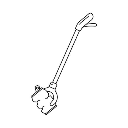 Picking up garbage stick. Linear icon of litter picker gripper and crushed can. Black simple illustration of Long-reach grabber. Contour isolated vector on white background. Symbol of trash removal