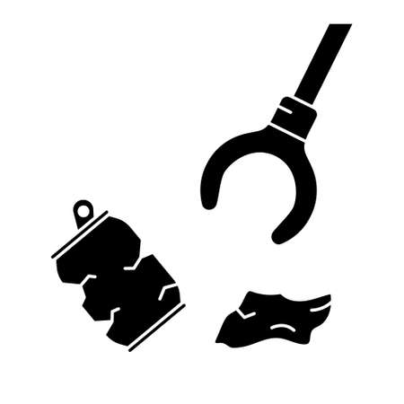 Cutout silhouette Claw grip with trash. Cleaning streets and nature of garbage. Outline icon of save planet, green theme. Black simple illustration. Flat isolated vector on white background