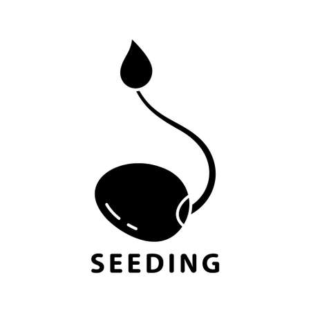 Cutout silhouette Soybean sprout with leaf icon for seeding theme icon. Outline logo of fresh bean, soy products. Black illustration of raw food diet. Flat isolated vector image on white background Stock Illustratie