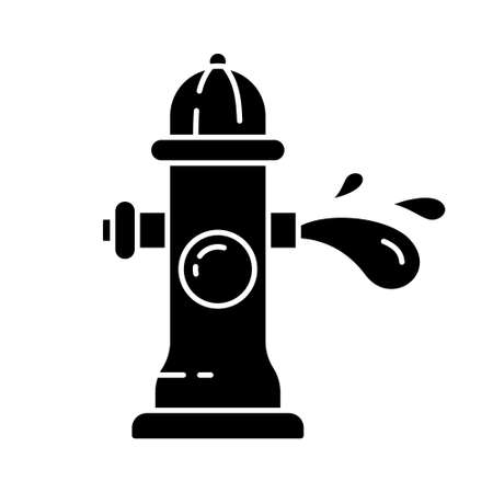 Silhouette fire hydrant with water stream. Outline icon of fireplug, splash of aqua. Cartoon black illustration of street pipe with three nipples. Flat isolated vector on white background. Open tap  イラスト・ベクター素材