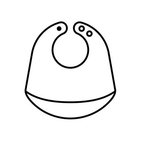 Bib icon. Linear logo of baby feeder with pocket and button fasteners. Black simple illustration of childens goods. Contour isolated vector image on white background