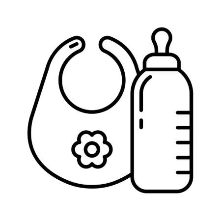 Milk bottle, baby bib with flower. Linear icon of feeder. Black simple illustration of feeding accessory. Contour isolated vector image on white background