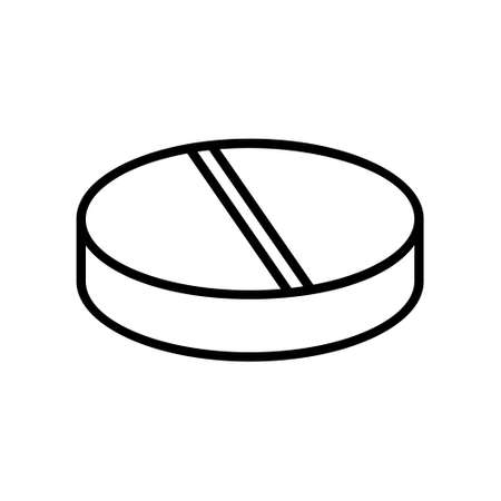 Flat round pill icon. Linear logo of medical tablet and vitamin. Black simple illustration. Contour isolated vector image on white background. Symbol of disk, shim or washer