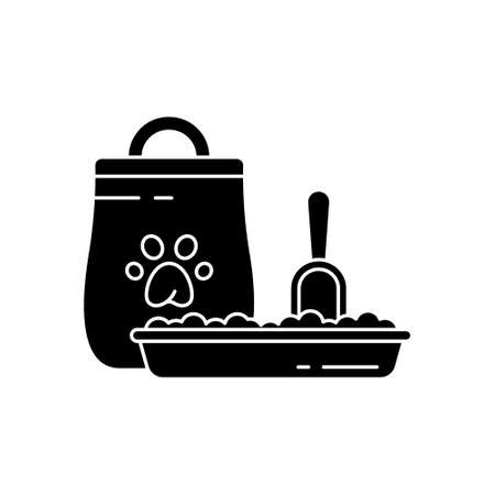 Cutout silhouette Cat litter toilet or dog food. Tray, stuck scoop, packaging with paw print. Black illustration for pet products and shop. Flat isolated vector image on white background. Outline icon Vektorgrafik