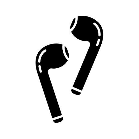 Cutout silhouette separate wireless headphones. Outline icon of wi-fi earphones for use audio, answer calls. Black illustration of accessory for smartphone. Flat isolated vector on white background Vecteurs