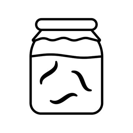 Glass jar with leeches or worms. Linear icon of hirudotherapy. Black simple illustration of alternative medicine or breeding leenches. Contour isolated vector image on white background