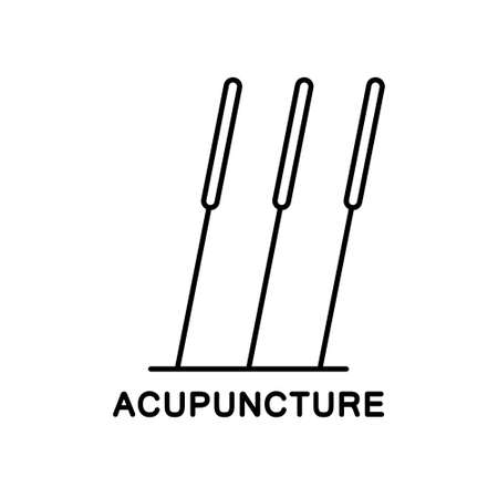 Acupuncture icon. Row of three stuck needles. Black line art illustration of alternative medicine, treatment, reflexology. Contour isolated vector emblem on white background