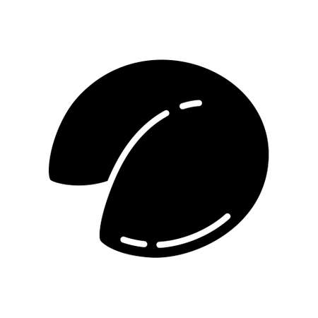 Cutout silhouette Dumpling side view icon. Outline  logo of small snack of dough and stuffing. Black illustration. Flat isolated vector image on white background for packaging design, menu, restaurant  イラスト・ベクター素材