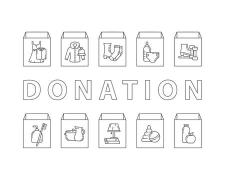 Kinds of things to give in cardboard box: food, clothes, toys, shoes, stuffs. Horizontal donation poster. Charity banner with linear icons and text. Black white illustration. Contour isolated vector