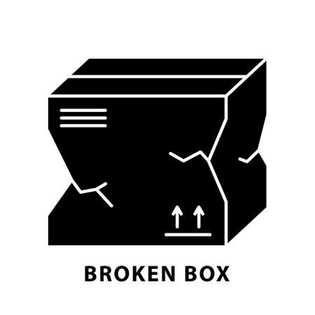 Cutout silhouette Broken package box icon. Outline template for delivery icon. Black illustration of problems with transportation and storage of goods. Flat isolated vector image on white background