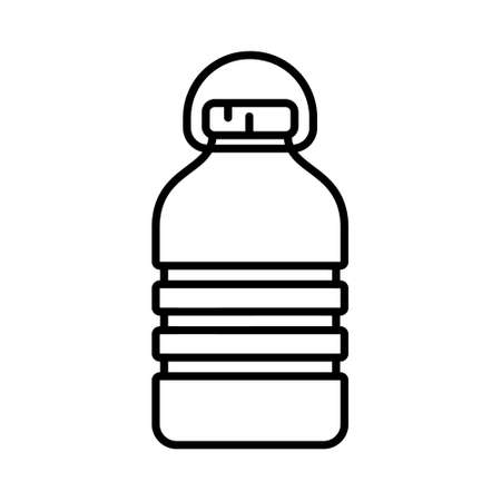 PET recycling bottle. Linear icon of rectangular corrugated plastic bottle with handle. Black illustration of package for water, liquid, oil, washer fluid. Contour isolated vector on white background