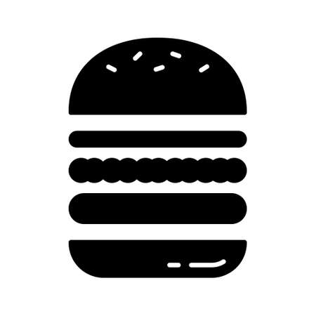 Cutout silhouette Separate layered hamburger. Outline icon of sandwich with layers of bun, stuffing. Black white illustration of meat or vegan food. Flat isolated vector. Make your own burger in cafe  イラスト・ベクター素材