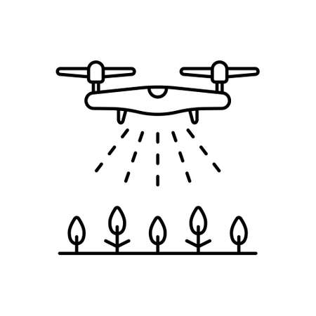 Drone spraying agent on crops. Linear icon of fertilizer, disinfection, watering, irrigation from air. Black illustration of agricultural automation. Contour isolated vector image on white background
