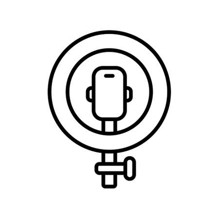 Led ring lamp with smartphone and part of stand. Line art icon. Black illustration of selfie or blogger. Contour isolated vector image on white background. Podcast emblem