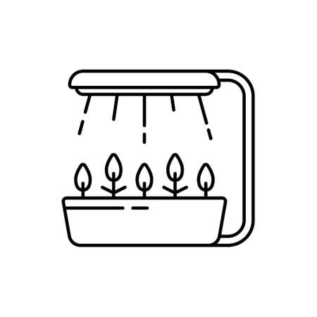 Led grow light. Linear icon of hydroponics, phytolamp. Black illustration of farming led. Contour isolated vector on white background. Pot with shoots and fixed lamp with rays of artificial light