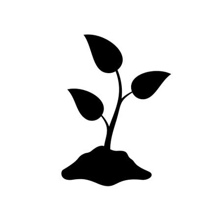 Silhouette Sprout in hill of earth. Outline of agriculture, seeds, seedlings. Black simple illustration of eco farm, natural cultivation. Flat isolated vector emblem on white background
