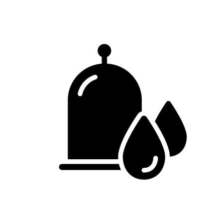 Cutout silhouette Hijama icon. Outline  of wet cupping. Vacuum jar with blood drops. Black simple illustration of medical bleeding. Flat isolated vector image on white background