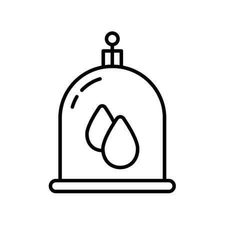Vacuum bloodletting. Line art icon of Hijama therapy, wet cupping. Dirty blood suction cup. Black simple illustration of Islamic treatment. Contour isolated vector emblem on white background