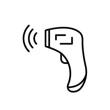 Thermomètre infrarouge frontal avec signal. Icône linéaire d'un appareil numérique pour mesurer la température. Illustration noire de l'équipement médical sans contact. Contour vecteur isolé sur fond blanc