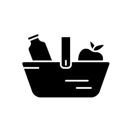 Silhouette Food basket icon. Outline logo of grocery shopping. Black simple illustration for market, store, shop. Flat isolated vector image on white background. Basket with bottle of milk and apple