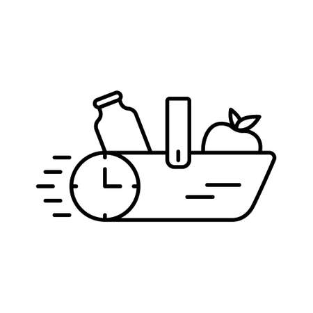 Delivery of products concept. Food basket with stopwatch. Linear icon of grocery shopping. Black illustration of quick supply. Contour isolated vector emblem on white background