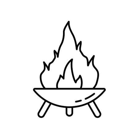 Fire Pit on three legs. Symbol of making campfire outdoors and traveling. Diwali festival icon. Line art round bonfire bowl. Black illustration for camping. Contour isolated vector on white background Ilustração