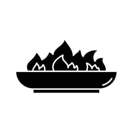 Silhouette Outdoor Fire Pit icon. Outline logo of low bonfire bowl. Black simple illustration of campfire, accessory for backyard, picnic in nature. Flat isolated vector emblem on white background Ilustração
