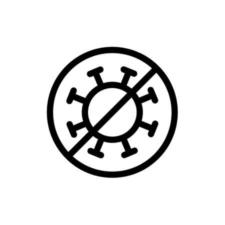 Stop bacteria icon. Round linear emblem of anti covid. Sign of fight against virus. Black simple illustration of no germs, microbe. Contour isolated vector on white background