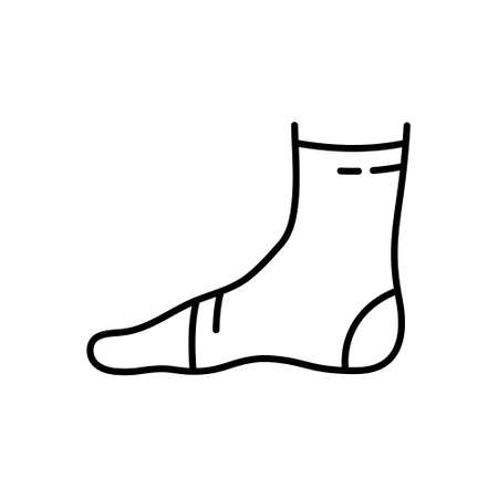 Ankle support. Linear icon of elastic medical bandage on leg. Black illustration of fixative textile dressing to treat injury. Contour isolated vector emblem on white background. Human foot in profile