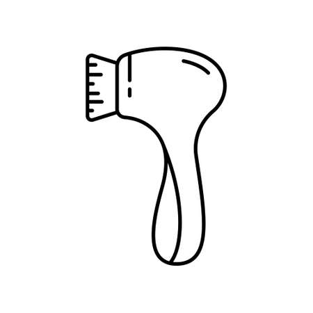 Electric facial cleansing brush. Line art icon of massager tool. Black simple illustration of face cleanser, device for scrubbing, removing blackhead. Contour isolated vector on white background