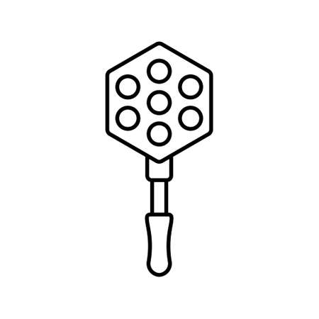 Bubble waffle mold with long handle. Linear icon of cast iron or aluminum pan for making Hong Kong egg waffle on stove. Illustration of kitchen appliances. Contour isolated vector on white background
