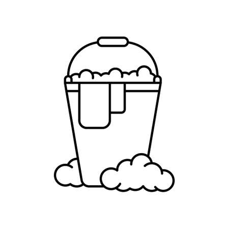 Bucket with rag and soap suds. Linear icon of wet cleaning. Black simple illustration of mopping, disinfection, washing with detergents. Contour isolated vector emblem on white background Illusztráció