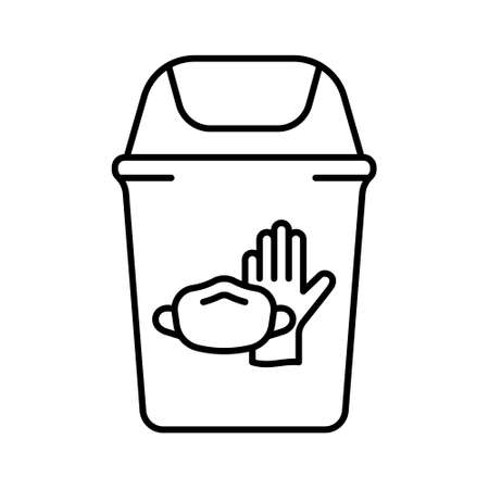 Trash can with latex glove, face mask. Disposal of medical supplies. Linear illustration of special bin for throwing out used individual protective equipment in hospital, clinic. Contour vector icon