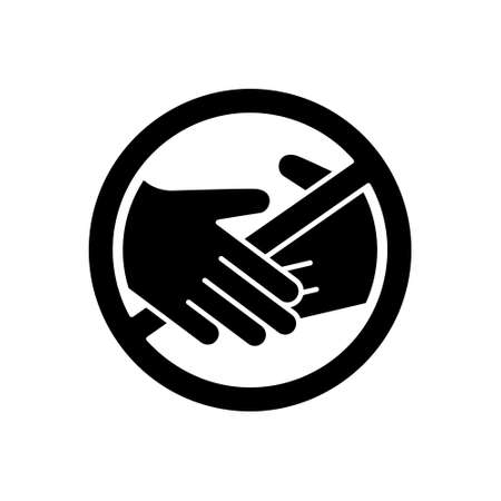 Cutout silhouette contactless delivery icon. No touch emblem. Outline symbol of handshake ban. Flat isolated illustration on white background