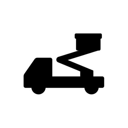 Silhouette of elevated work platform. Black illustration of hydraulic special machinery. Outline icon of aerial lift. Flat isolated vector on white background. Car shipping sign