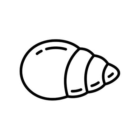Seashell icon. Linear  of cone shell. Black simple illustration of crayfish, mollusk, sea food. Contour isolated vector on white background. Emblem for cosmetics with snail mucus extract Illustration