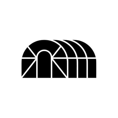 Cutout silhouette of Greenhouse hemisphere. Outline icon of frame glasshouse for gardening, agriculture. Black simple illustration of oval conservatory. Flat isolated vector emblem on white background