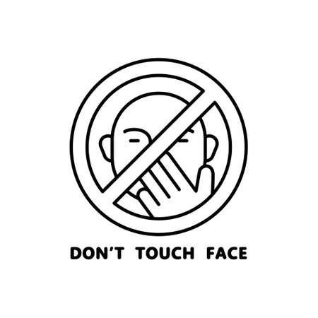 Don't touch face. Round linear icon. Black simple illustration of hand and human face, pandemic hygiene rules. Contour isolated vector image on white background. Emblem to stop spread of virus