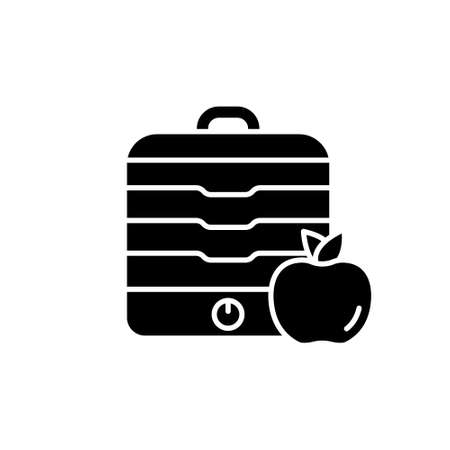 Silhouette Fruit dryer with lid. Home appliances for preparing food for future use. Outline illustration of table dehydrator with apple. Flat isolated vector pictogram on white background