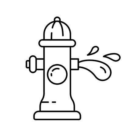 Fire hydrant with water stream. Line art icon of fireplug and splash of aqua. Cartoon black illustration of street pipe with three nipples. Contour isolated on white background. Open tap