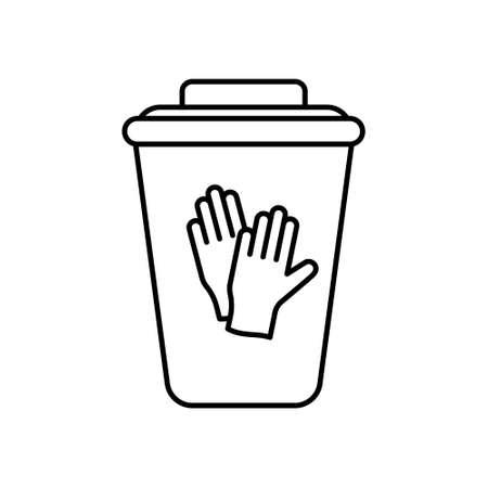 Behälter für medizinische Abfälle für Nitrilhandschuhe. Spezialbox zur Desinfektion oder Verwendung von Einweg-Schutzausrüstung. Linie Kunstillustration des Mülleimers mit Deckel. Mülleimer-Kontur-Vektor-Symbol