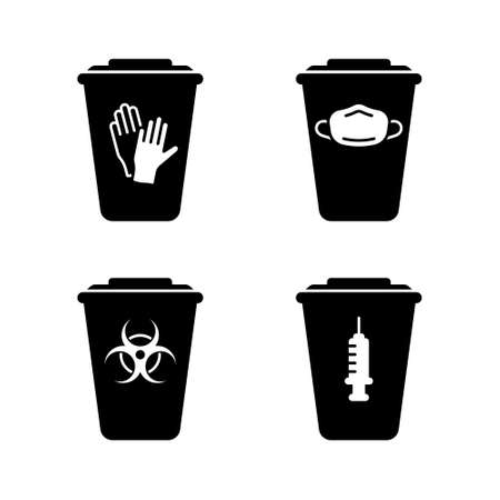 Silhouette set of medical waste containers. Special box for disinfection or utilization of disposable gloves, face mask, syringe, biohazard. Outline emblem of trash can with lid. Isolated icon