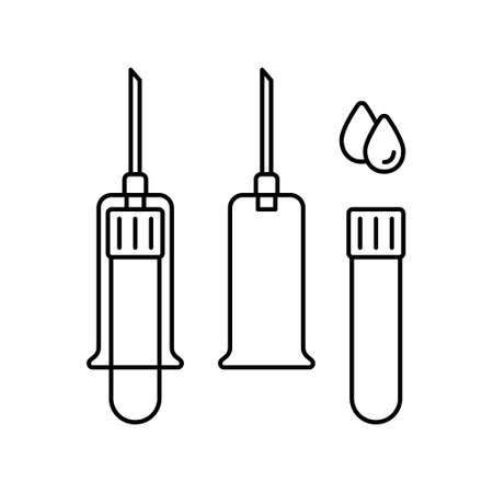 Set of vacuum blood sampling from vein. Linear icon of test tube with cap, needle holder, blood drops. Black illustration of special medical sterile syringe. Contour isolated , white background
