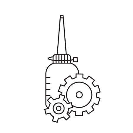 Oiler with two gearwheels overlapping each other in foreground. Linear icon of motor lubricating oil. Black white illustration. Contour isolated image. Standing bottle with long nose and wheels Иллюстрация