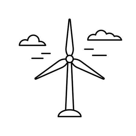 Wind power plant. Linear icon of air green energy. Black illustration of electric station, windmill with clouds. Contour isolated image on white background. Renewable natural resource emblem Illustration